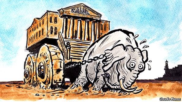 elephant pulling bank
