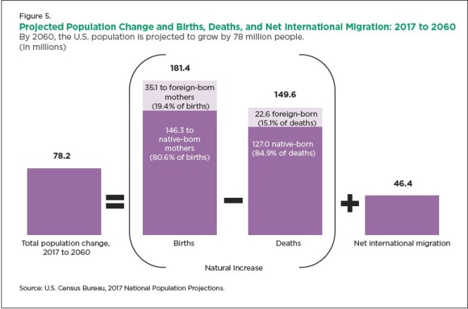projected population chanes births and deaths
